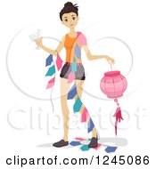 Clipart Of A Young Woman Carrying Party Decorations Royalty Free Vector Illustration