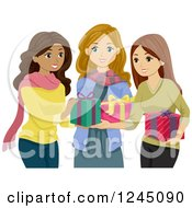 Clipart Of Diverse Teeni Girls Exchanging Christmas Gifts Royalty Free Vector Illustration by BNP Design Studio