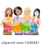 Clipart Of A Group Of Diverse Ladies Holding Shopping Bags Royalty Free Vector Illustration by BNP Design Studio