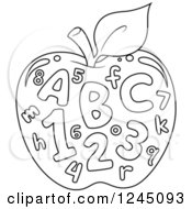 Clipart Of A Black And White Outlined Apple With Letters And Numbers Royalty Free Vector Illustration