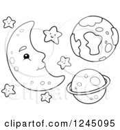 Clipart Of A Black And White Happy Moon With Stars And Planets Royalty Free Vector Illustration
