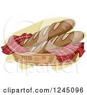 Clipart Of A Basket With Fresh Baguettes Royalty Free Vector Illustration by BNP Design Studio
