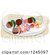 Clipart Of Shrimp And Steak Kebabs Royalty Free Vector Illustration