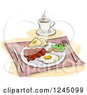 Clipart Of An English Breakfast With Coffee Royalty Free Vector Illustration