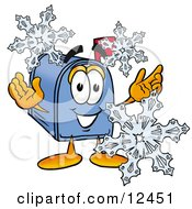 Clipart Picture Of A Blue Postal Mailbox Cartoon Character With Three Snowflakes In Winter