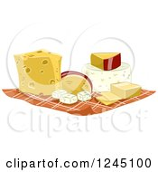 Clipart Of Cheeses On A Cloth Napkin Royalty Free Vector Illustration