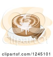 Clipart Of A Cinnamon Roll With Sticks And Sugar Icing Royalty Free Vector Illustration