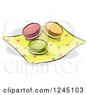 Clipart Of Colorful Macaroons On A Heart Napkin Royalty Free Vector Illustration