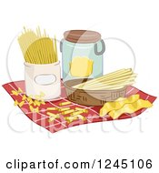 Clipart Of Assorted Pasta On A Napkin Royalty Free Vector Illustration by BNP Design Studio