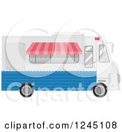 Clipart Of A White And Blue Food Truck Royalty Free Vector Illustration by BNP Design Studio