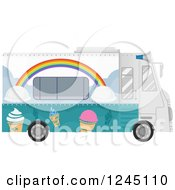 Clipart Of An Ice Cream Food Truck Royalty Free Vector Illustration by BNP Design Studio