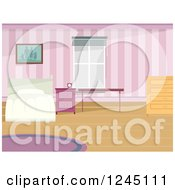 Clipart Of A Bed In A Pink Attic Room Royalty Free Vector Illustration
