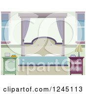 Clipart Of A Pastel Bedroom Royalty Free Vector Illustration