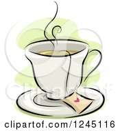 Clipart Of A Cup Of Hot Tea With A Heart On The Bag Royalty Free Vector Illustration by BNP Design Studio