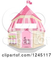 Clipart Of A Pink Whimsical Flower Shop Royalty Free Vector Illustration by BNP Design Studio