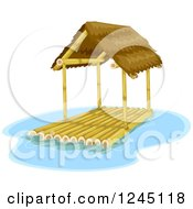 Clipart Of A House Boat Raft With A Roof Royalty Free Vector Illustration