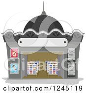 Clipart Of A Magazine Store Facade Royalty Free Vector Illustration