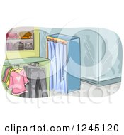 Clipart Of A Clothing Boutique Interior Royalty Free Vector Illustration by BNP Design Studio