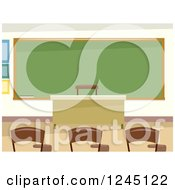 Clipart Of An Empty Classroom Interior Royalty Free Vector Illustration