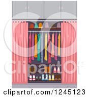 Clipart Of An Organized Closet With Pink Curtains Royalty Free Vector Illustration by BNP Design Studio