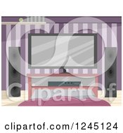 Clipart Of An Entertainment Room Interior With Purple Wallpaper Royalty Free Vector Illustration