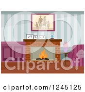 Clipart Of A Living Room With A Family Portrait And Fireplace Royalty Free Vector Illustration