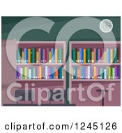 Clipart Of A Library Interior With Books On Shelves Royalty Free Vector Illustration