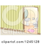 Clipart Of A Hallway View Into A Bathroom Royalty Free Vector Illustration by BNP Design Studio
