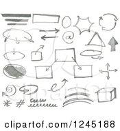 Clipart Of Gray Doodled Marker Design Elements Royalty Free Vector Illustration