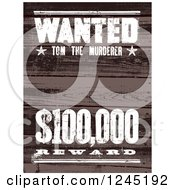 Clipart Of A Wooden Wanted Tom The Murderer Reward Sign Royalty Free Vector Illustration by BestVector