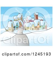 Clipart Of A Small Village In Winter Royalty Free Vector Illustration by Holger Bogen