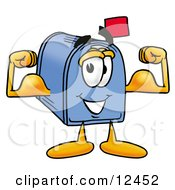 Clipart Picture Of A Blue Postal Mailbox Cartoon Character Flexing His Arm Muscles