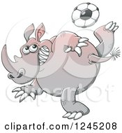 Soccer Rhinoceros Kicking A Ball
