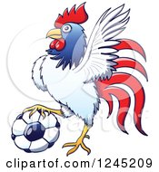 Clipart Of A Soccer Rooster Resting A Foot On A Ball Royalty Free Vector Illustration by Zooco