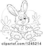 Clipart Of A Black And White Happy Bunny Rabbit Sitting With A Carrot In A Garden Royalty Free Vector Illustration by Alex Bannykh