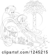 Clipart Of Black And White Happy Children Playing On A Water Slide Royalty Free Vector Illustration by Alex Bannykh