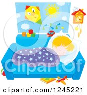 Clipart Of A Blond Caucasian Boy Napping On A Couch Royalty Free Vector Illustration