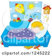 Clipart Of A Blond Boy Napping On A Couch Royalty Free Vector Illustration