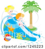 Happy Caucasian Children Playing On A Water Slide