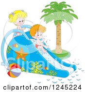 Clipart Of Happy Children Playing On A Water Slide Royalty Free Vector Illustration by Alex Bannykh