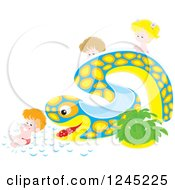 Happy Caucasian Children Playing On An Eel Or Snake Water Slide