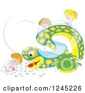 Clipart Of Happy Children Playing On An Eel Or Snake Water Slide Royalty Free Vector Illustration by Alex Bannykh
