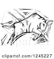 Clipart Of A Black And White Woodcut Bullfighting Bull Stabbed With Spears Royalty Free Vector Illustration