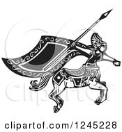 Clipart Of A Black And White Woodcut Female Charging Centaur With A Spear Royalty Free Vector Illustration