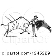 Clipart Of A Black And White Woodcut Bull Charging A Matador With A Cape Royalty Free Vector Illustration