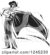 Clipart Of A Black And White Woodcut Matador With A Cape Royalty Free Vector Illustration