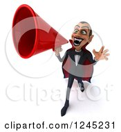 Clipart Of A 3d Dracula Vampire Announcing With A Megaphone 5 Royalty Free Illustration