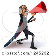 Clipart Of A 3d Dracula Vampire Announcing With A Megaphone 4 Royalty Free Illustration