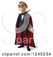 Clipart Of A 3d Dracula Vampire In A Cape Royalty Free Illustration by Julos