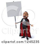 Clipart Of A 3d Dracula Vampire Holding A Blank Sign Royalty Free Illustration